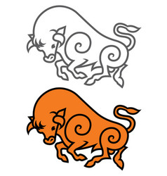 energetic galloping bull vector image