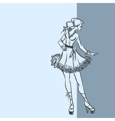 Fashionable woman in short dress vector