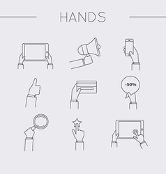 Flat design of hand line icons set Concept of hand vector image vector image