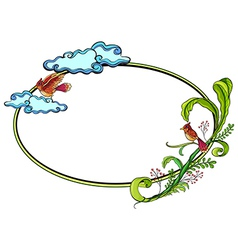 Floral round border frame vector image vector image