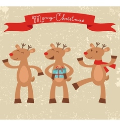 Happy deers Christmas card vector image vector image