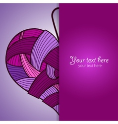 Happy Valentines Day card with knitted heart vector image