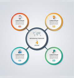 Infographic circle diagram template with 4 options vector image