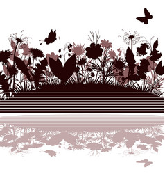 landscape flowers and butterflies vector image