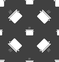 Pan cooking icon sign seamless pattern on a gray vector