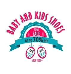 Sale label for shoes kids stores mega sale badge vector