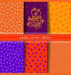 set of six hand drawn seamless patterns for autumn vector image vector image