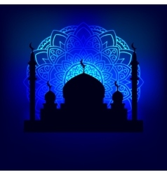 Silhouette arab temple vector