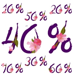 Sale percents with spring sakura flowers vector