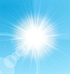 Bright sun shining in the blue sky vector