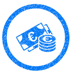 euro cash rounded icon rubber stamp vector image