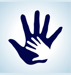 Hand in hand in white and blue as concept of vector