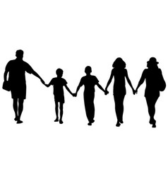 silhouettes of happy family walking vector image