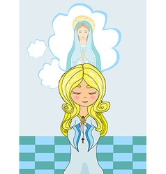 Cute little girl praying to blessed virgin mary vector