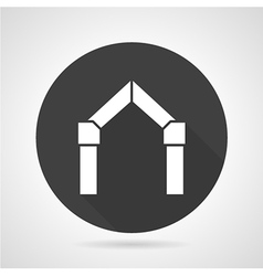 Arch gateway black round icon vector