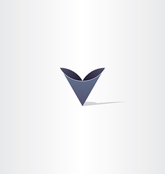 Deep blue abstract letter v symbol logo vector