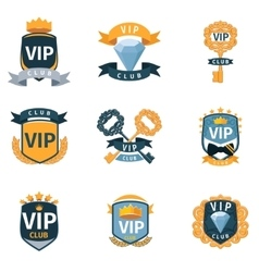 Vip club logo and emblems set vector