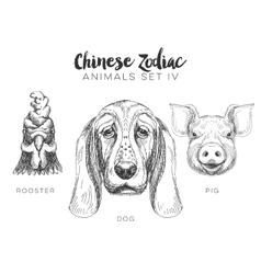 set of hand drawn chinese zodiac animal vector image