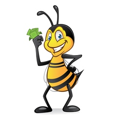 cartoon bee with money vector image