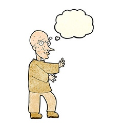 Cartoon mean looking man with thought bubble vector