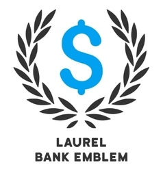 Laurel bank emblem icon with caption vector