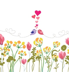 Floral background with hand drawn flowers bird and vector