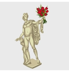 Greek man sculpture with red bouquet of flowers vector