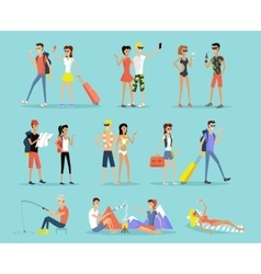 People vacation set man and woman vector
