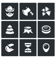 Set of firewood in the forest icons vector