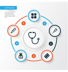 Antibiotic icons set collection of device drug vector