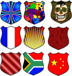 assorted shields vector image vector image