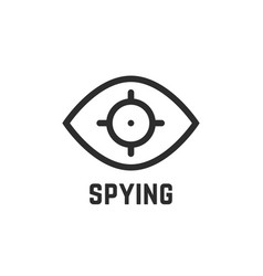 Black spying eye linear logo vector