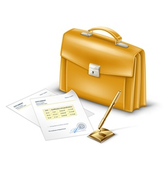 business briefcase with documents and pen vector image vector image