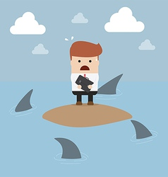 Businessman stranded in an island vector