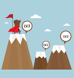 Businessman success on top of mountain last level vector