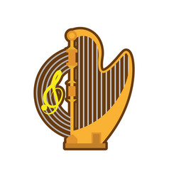 Cartoon harp musical instrument concert vector