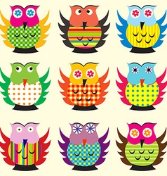 Cartoon owls set vector image
