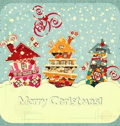 Christmas houses and snow vector
