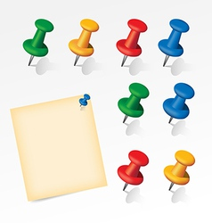 Colorful pins set with paper note vector
