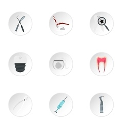 Dentistry icons set flat style vector