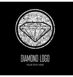 Diamond grunge logo 2 vector image vector image