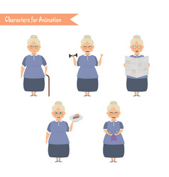 Funny grandmother housewife cartoon vector