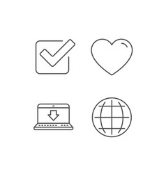 Globe internet download and check icons vector