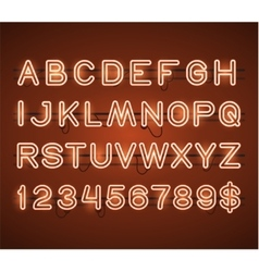 Glowing orange neon bar alphabet vector