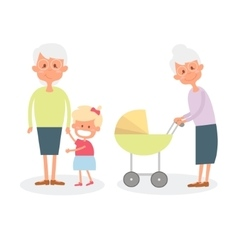 Happy grandmother with grandchildren Cute Senior vector image vector image