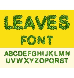 Leaves Font Green Eco alphabet vector image