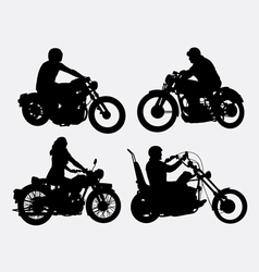 Male and female riding vintage motorcycle silhouet vector