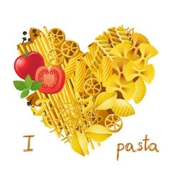 Pasta heart vector