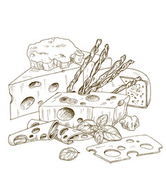 Pile of hand drawn cheese with bread sticks vector