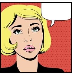 Pop art surprised woman vector image